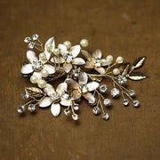 Gold Plated Flower Bridal Wedding Accessory Hairband with Pearl and Crystal