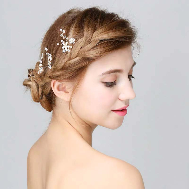 White Floral Bobby Pin Bridal Wedding Accessory Hairband