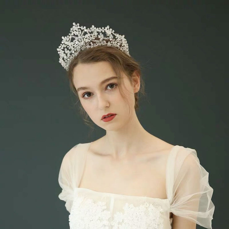 Handmade Crystal Beads Floral Tiara Bridal Wedding Accessory Hairband with Silver Twig