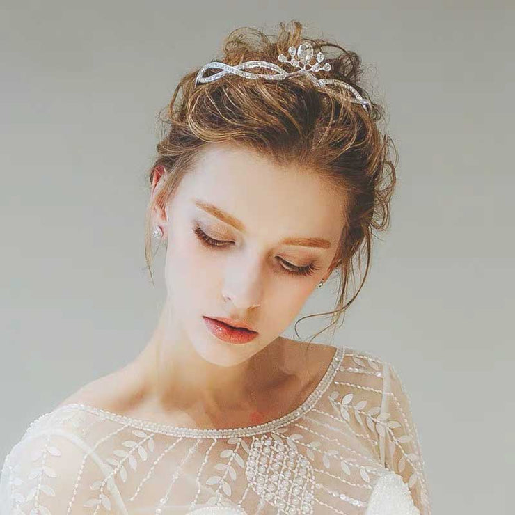 Beautiful Minimalist Diamond Hair Crown Bridal Wedding Accessory Hairband