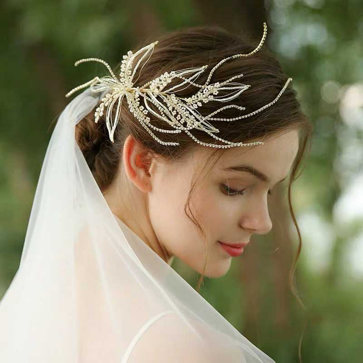 Floral Rhinestone Twigs Bridal Wedding Accessory Hairband