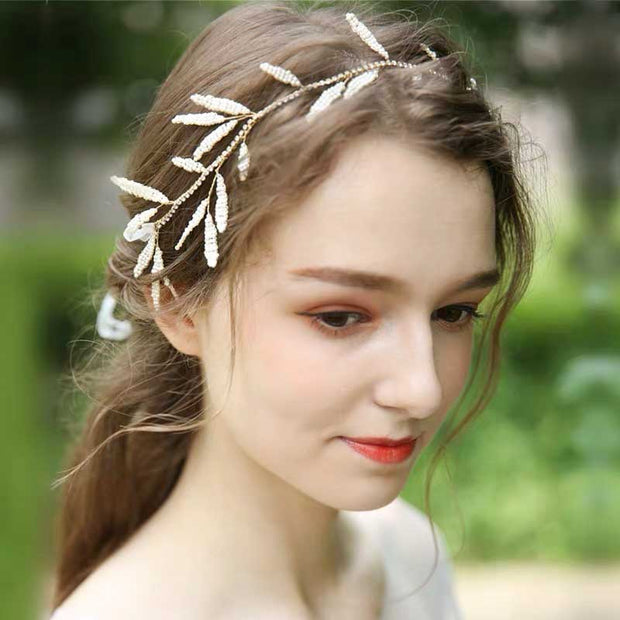 Lace-Up Bridal Wedding Accessory Hairband with Pearl Greek Leaf Design