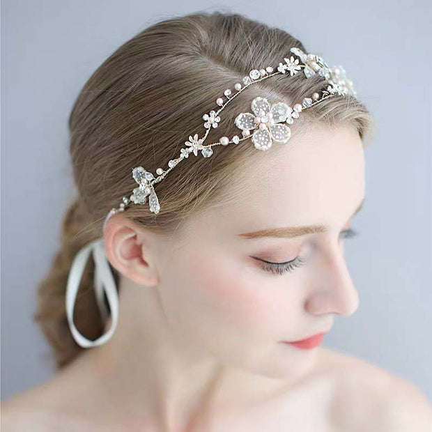 Lace Flower Petal Hair Vine Bridal Wedding Accessory Hairband