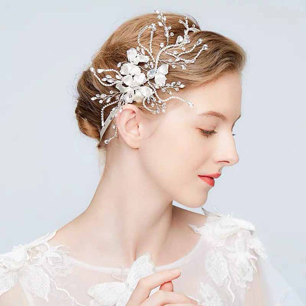 Lace- Up Silver Floral with Crystal Bridal Wedding Accessory Hairband