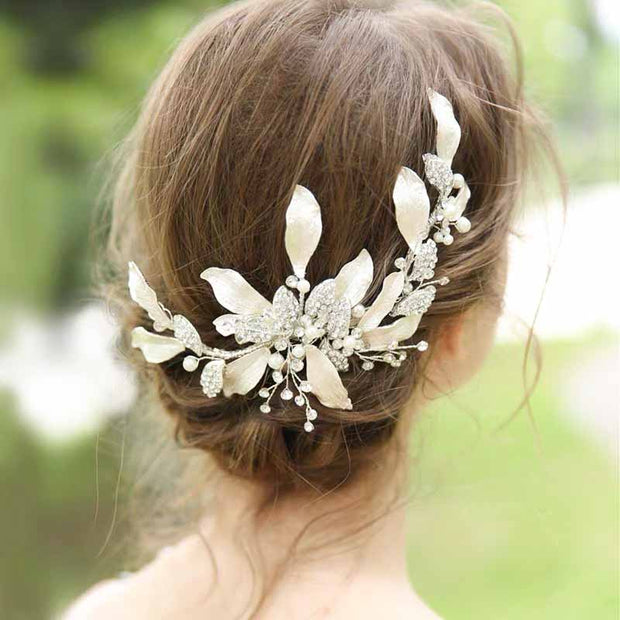Stunning Gold Plated Leaf Bridal Wedding Accessory Hairband with Rhinestone