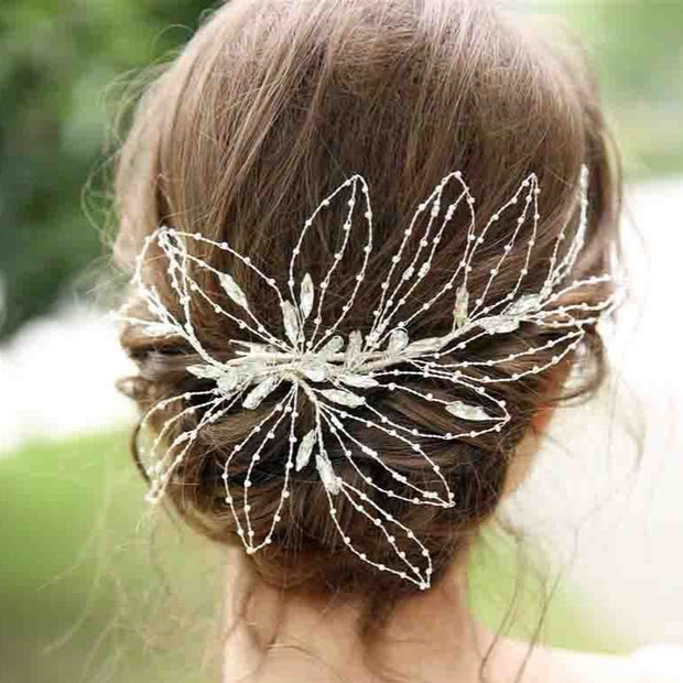Wired Leaf Design Bridal Wedding Accessory Hairband Clip