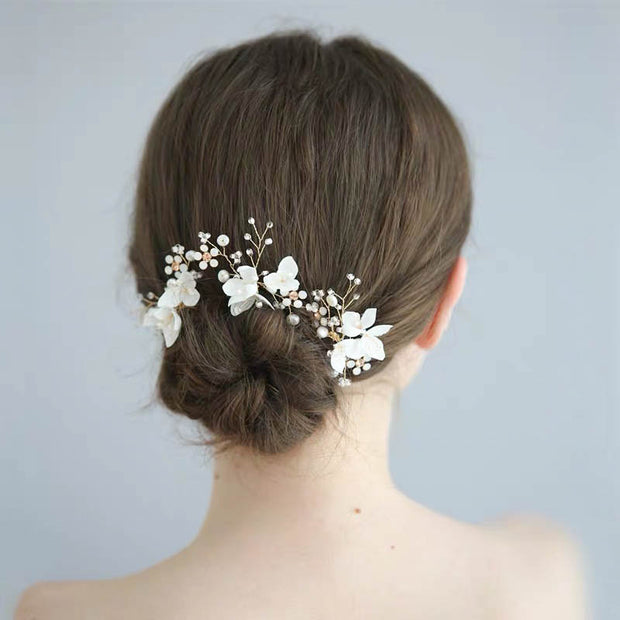 White Porcelain Flower Pin Bridal Wedding Accessory Hairband