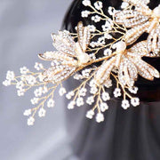 Rhinestone Gold Petal Bridal Wedding Accessory Hairband Clip