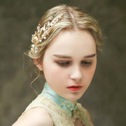 Gold Floral Design Bridal Wedding Accessory Hairband with Ivory Pearl