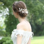 Ceramic White Leaves Bridal Wedding Accessory Hairband Clip