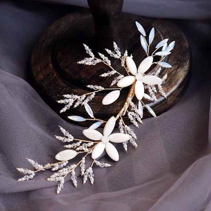 Porcelain Pearl Flower Bridal Wedding Accessory Hairband