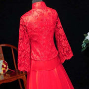 Full Red Wedding Kua 龍鳳卦/秀禾服 Qun Kua Cheongsam for Bride with Lace See-Through Long Sleeve