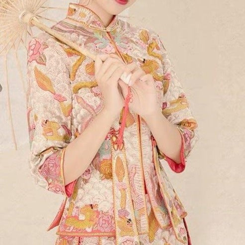 White and Pink Wedding Kua 龍鳳卦/秀禾服 Qun Kua Cheongsam for Bride with Dragon Embroidery