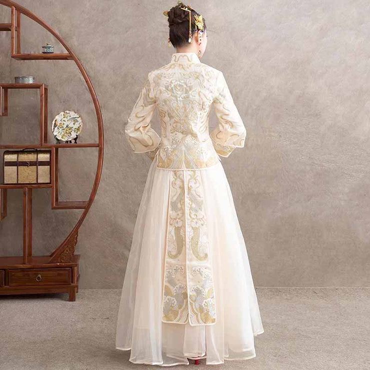 White Silk Organza Wedding Kua 龍鳳卦/秀禾服 Qun Kua Cheongsam for Bride