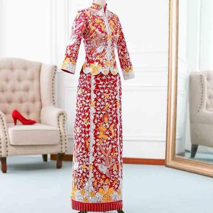 Wedding Kua 龍鳳卦/秀禾服 Qun Kua Cheongsam for Bride with White and Gold Phoenix Embroidery