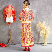 Wedding Kua 龍鳳卦/秀禾服 Qun Kua Cheongsam for Bride with Deep Gold Chinese Dragon Embroidery