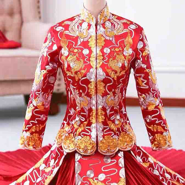 Full Length Wedding Kua 龍鳳卦/秀禾服 Qun Kua Cheongsam for Bride with Embroidered Phoenix