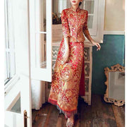 Wedding Kua 龍鳳卦/秀禾服 Qun Kua Cheongsam for Bride with Beaded Phoenix and Dragon Embroidery