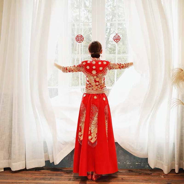 Wedding Kua 龍鳳卦/秀禾服 Qun Kua Cheongsam for Bride with Shiny Floral Embroidery