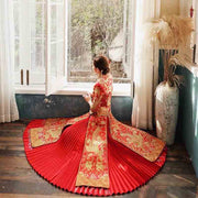 Pleated Skirt with Tassel Wedding Kua 龍鳳卦/秀禾服 Qun Kua Cheongsam for Bride with All Golden Phoenix And Dragon Embroidery