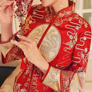 Wedding Kua 龍鳳卦/秀禾服 Qun Kua Cheongsam for Bride with Golden Round Patch with Stunning Phoenix and Chinese Patterns Embroidery
