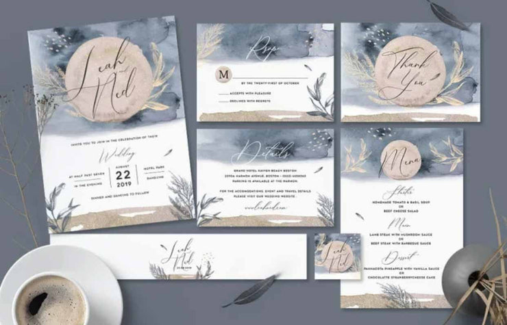 Midnight Gray and White Color Complete Stationery and Invitation Suite Set Including Personal Customization