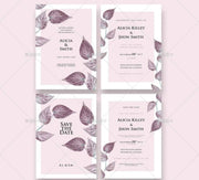 Light Pink with Leaf Border Design Complete Stationery and Invitation Suite Set Including Personal Customization