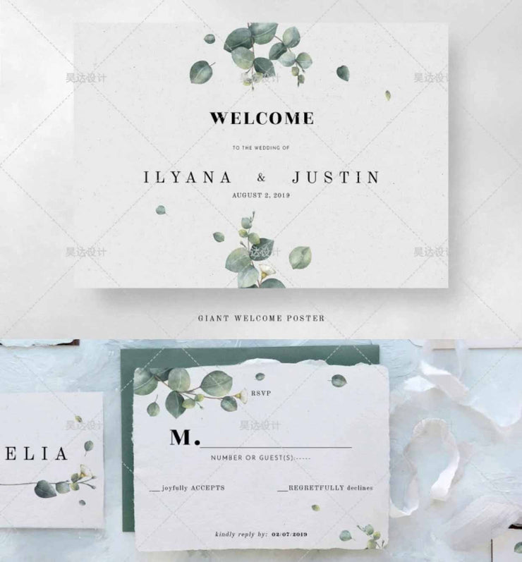 Eucalyptus Minimalist Design Complete Stationery and Invitation Suite Set Including Personal Customization