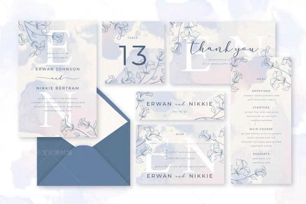 Modern Dusty Blue Floral Complete Stationery and Invitation Suite Set Including Personal Customization