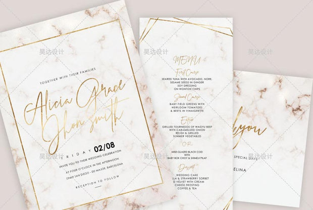 Pink Marble Design Complete Stationery and Invitation Suite Set Including Personal Customization