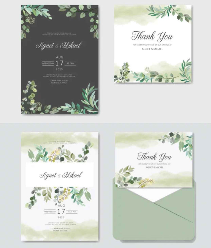 Greenery Design Complete Stationery and Invitation Suite Set Including Personal Customization