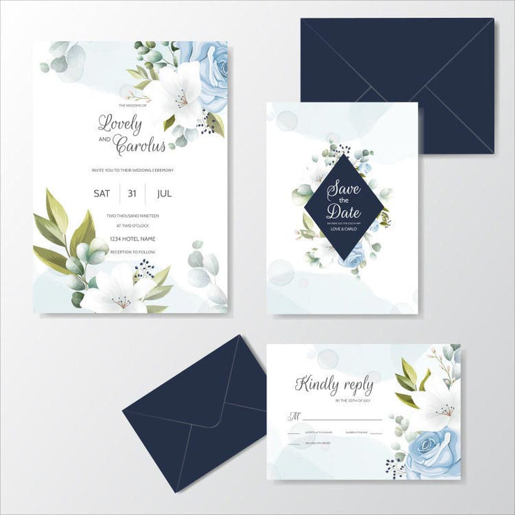 Simple Blue Floral Border Complete Stationery and Invitation Suite Set Including Personal Customization