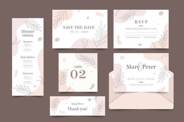 Nude Minimalist Leaves Design Complete Stationery and Invitation Suite Set Including Personal Customization