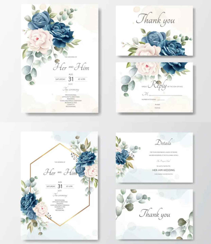 Navy Blue Floral Border Complete Stationery and Invitation Suite Set Including Personal Customization
