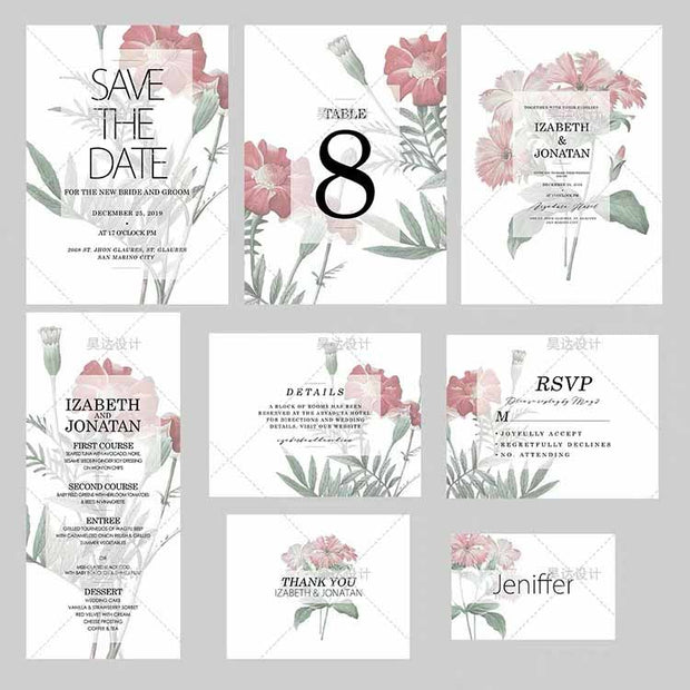 White and Pink Flower Complete Stationery and Invitation Suite Set Including Personal Customization