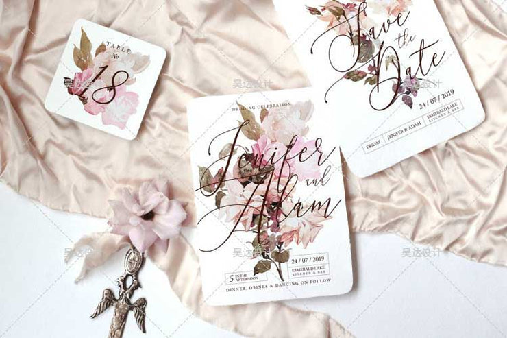 Garden Flower Design Complete Stationery and Invitation Suite Set Including Personal Customization