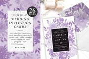 Purple Floral Complete Stationery and Invitation Suite Set Including Personal Customization