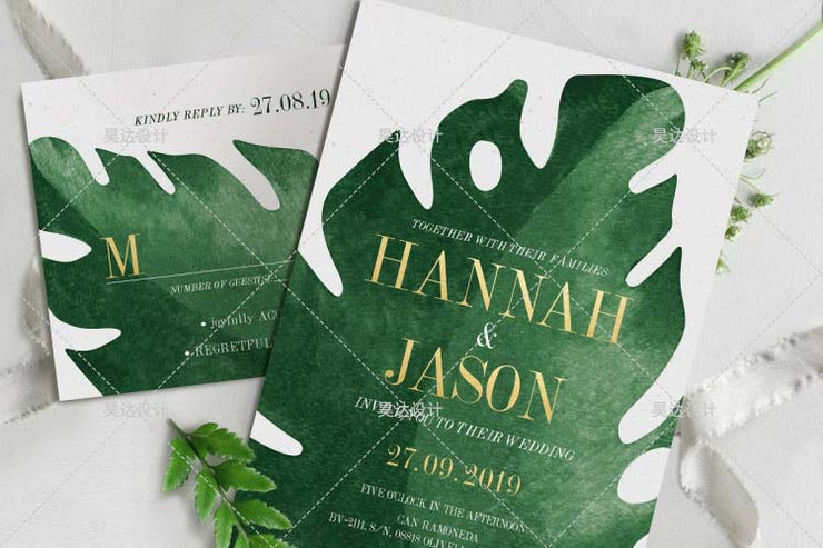 Tropical Leaves Complete Stationery and Invitation Suite Set Including Personal Customization