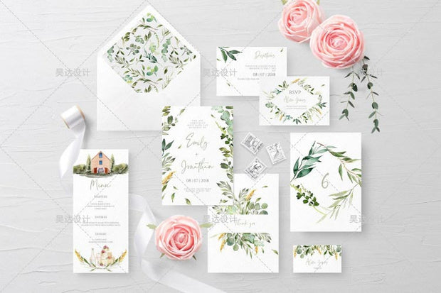 Lush Green Leaves Design Complete Stationery and Invitation Suite Set Including Personal Customization