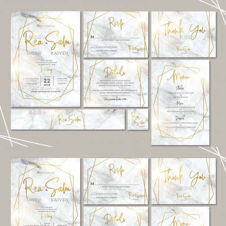 Gray Marble Design Complete Stationery and Invitation Suite Set Including Personal Customization