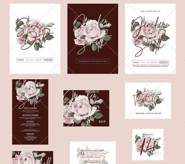 Maroon and Blush Floral Complete Stationery and Invitation Suite Set Including Personal Customization