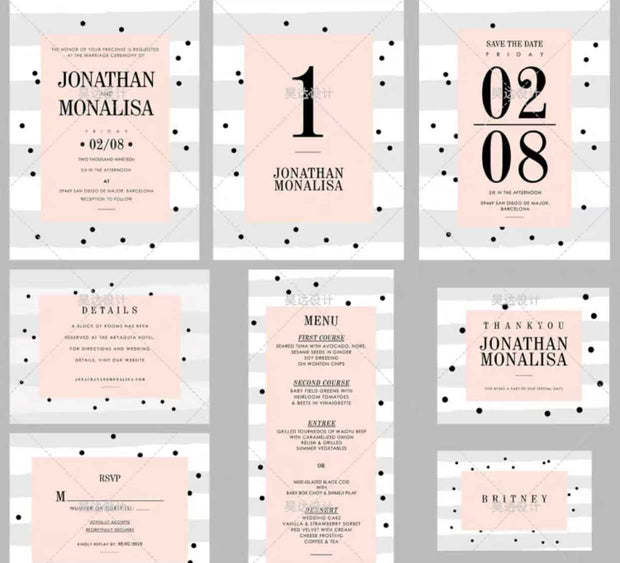 Nude and Gray Polka Dots Complete Stationery and Invitation Suite Set Including Personal Customization