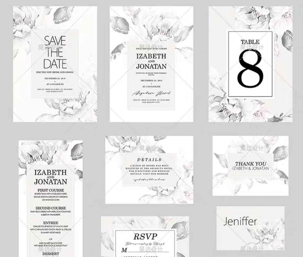 Charcoal Gray Floral Complete Stationery and Invitation Suite Set Including Personal Customization