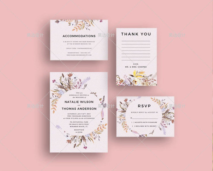 Country Flowers Complete Stationery and Invitation Suite Set Including Personal Customization