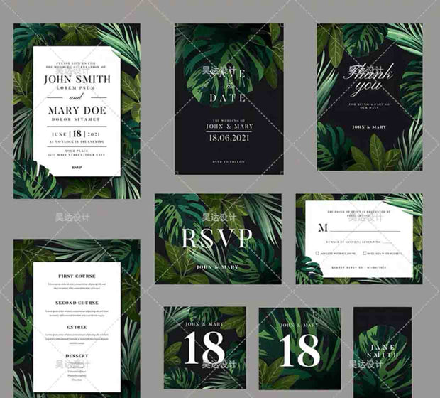 Dark Green Monstera Leaf Complete Stationery and Invitation Suite Set Including Personal Customization