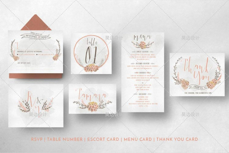 Peach Floral Wedding Complete Stationery and Invitation Suite Set Including Personal Customization