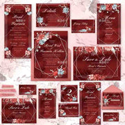 Marsala Floral Complete Stationery and Invitation Suite Set Including Personal Customization