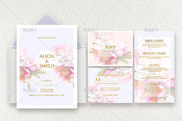Sweet Pink Floral Border Design Complete Stationery and Invitation Suite Set Including Personal Customization