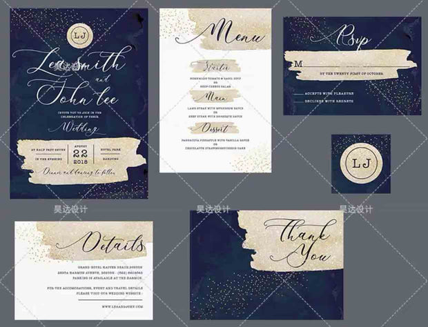 Starry Midnight Blue Design Complete Stationery and Invitation Suite Set Including Personal Customization
