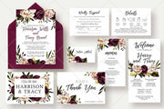 Burgundy Flower Complete Stationery and Invitation Suite Set Including Personal Customization